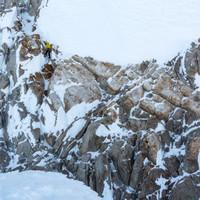 <strong>Timo startet nach links querend in die Mixedlängen<strong></strong></strong>© Stefan Brunner