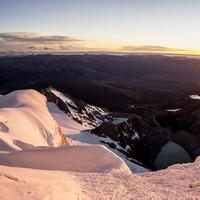 <strong>Stefan im Zustieg bei wunderbaren Sonnenaufgang</strong>