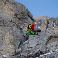 Roli in einer Mixedtour an derTriangle de Taculam Mont Blanc.