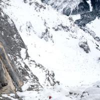 <strong>Blick zurück auf die drei (SL 8-10) schon absolvierten Seillängen des Ausstiegsbereich der Südwandrampe.</strong><span class=>© Timo Moser</span>