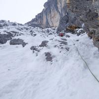 <strong>Südwandrampe - Ausstiegsbereich. Es wirkt deutlich flacher und kürzer als es ist. Von hier warten noch sieben volle Seillängen bis zum Ausstieg.</strong><span class=>© Felix Autor</span>