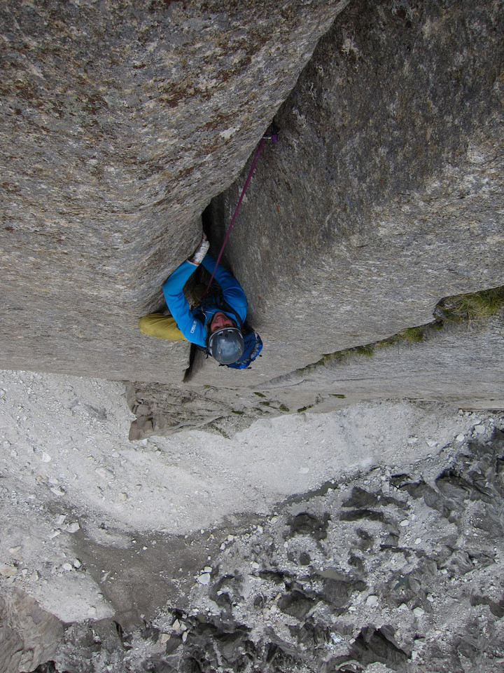 <span><strong>Riss mit schwieriger Breite, teils extrem offen...zeit zum zuawilossn</strong><span class=>© Timo Moser</span></span>