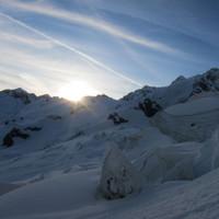 <span><strong>Sonnenstrahlen und Gletscherbruch im oberen Bereich</strong><span class=>© Timo Moser</span></span>