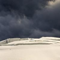 Gletscherbruch mit Spaltenzone unterhalb der Nordwand