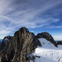 Der Hallstättergletscher mit von l.n.r Dirndl Spitze, Torstein (hinten klein), Hoher Dachstein, Niederer Dachstein