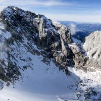Torstein Ostgrat - hier ist die Eissrinne und der Normalanstieg auf den Gipfel