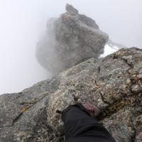 Kurze steile Kante - die Wolken wollen nicht wirklich aufreissen