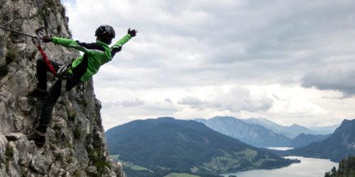 Kletterer in Klettersteig