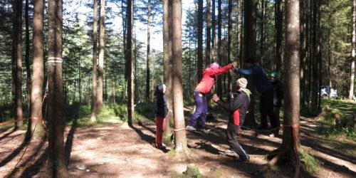 Personen auf Mowhawk walk bei Teamübung im Wald
