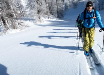 Thumbnail http://Skitourengeher%20spurt%20im%20lichten%20Lärchenwald%20mit%20Licht%20und%20Schattenspiel